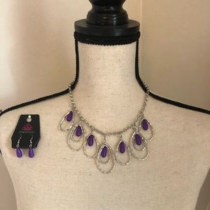 Purple & silver tear drop necklace and earrings